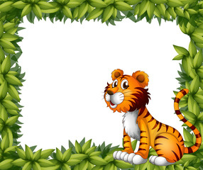 A tiger sitting in a leafy frame
