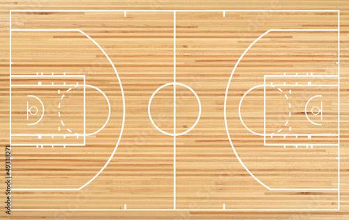 """Basketball Court Floor Plan On Parquet Background"" Stock"