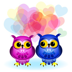 Cartoon owls in love on white
