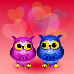 Cartoon owls in love