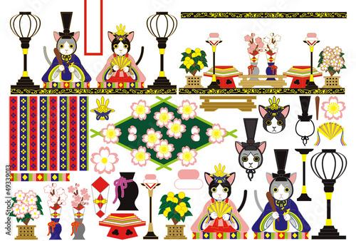 3月3日雛祭り和風猫のお雛様雛人形イラスト素材集fotoliacom の