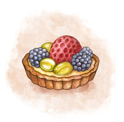 Illustration of a pastry fruits