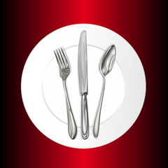 Restaurant business concept. Plate,spoon,fork. Vector