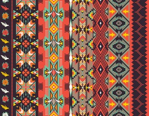 Aztecs seamless pattern on hot color