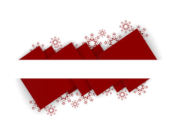 abstract red triangles christmas background with snow flakes
