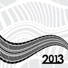 special tire track on white background