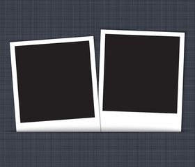 Blank photo frames on linen background