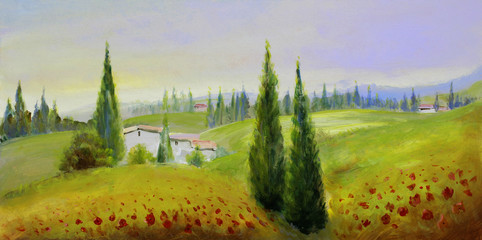 Fotoväggar - sommer landschaft malerei