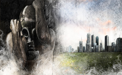Environment illustration, man with gas mask over dirty city