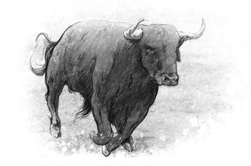 Tattoo art, dangerous bull with beaked horns