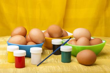 watercolors brush and easter eggs