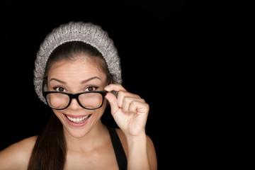 Cool hipster student wearing eyewear glasses