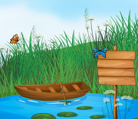 Printed kitchen splashbacks Butterflies A wooden boat in the river