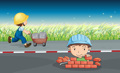 Workers in the road