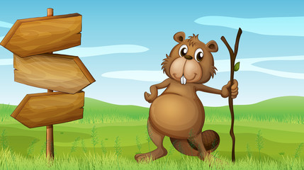 Wall Murals Bears A beaver holding a wood beside a wooden signboard