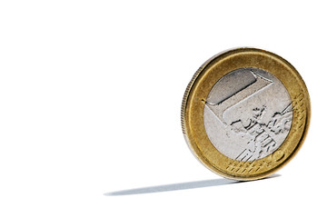 Single upright 1 Euro coin