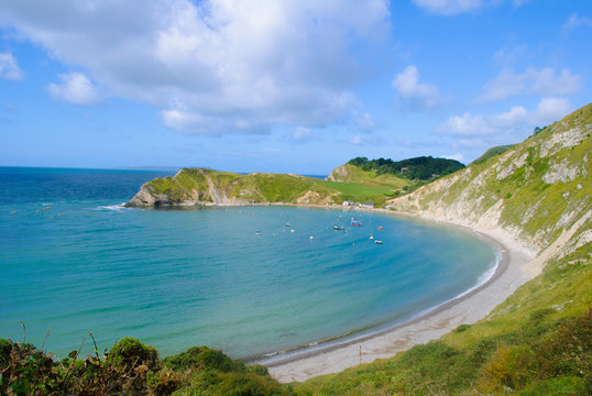 Lulworth Cove Bay Dorset with Blue sky