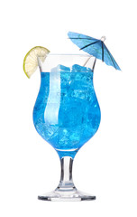 alcoholic cocktail  with umbrella and tube