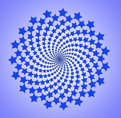Tuinposter Psychedelic Blue star spiral, rotating abstract pattern