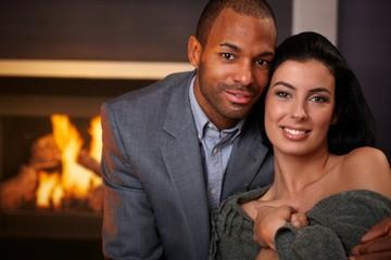 Portrait of beautiful interracial couple smiling