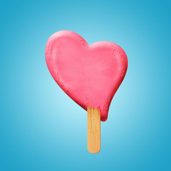 Ice cream heart on a stick melting, lovers in danger concept