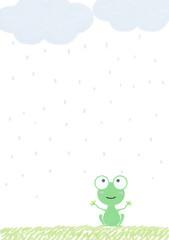 蛙 雨模様