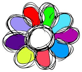 farbige Blume - Hanszeichnung