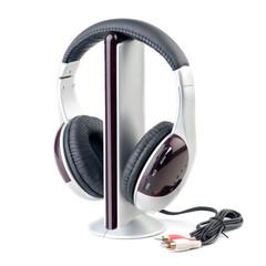 Stock Photo:Modern audio player and headphone set