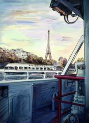 Foto op Canvas Illustratie Parijs Street in paris - illustration