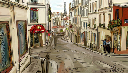 Wall Mural - Street in paris - illustration