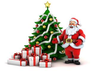 Santa Claus, Christmas tree and presents