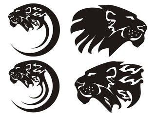 Tribal lion symbols, vector