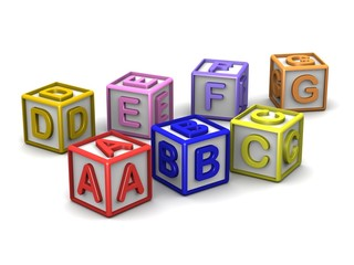 A B C D E F G Letters Cubes
