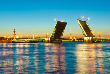 Neva river. Palace bridge. St.-Petersburg, Russia