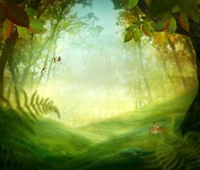 Printed roller blinds Forest Spring design - Forest meadow