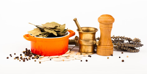 various spices equipment  isolated on white