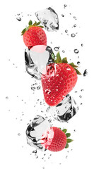 Garden Poster Splashing water Strawberries with ice cubes, isolated on white background