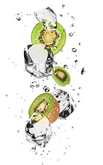 Tuinposter In het ijs Kiwi slices with ice cubes, isolated on white background