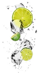 Foto op Canvas Opspattend water Limes with ice cubes, isolated on white background