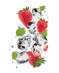 Wall Murals In the ice Strawberries with ice cubes, isolated on white background