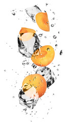 Poster In het ijs Apricots with ice cubes, isolated on white background