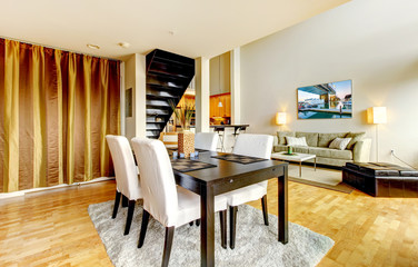 DIning room interior in modern city apartment.