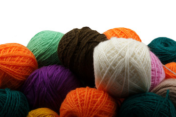 It is lot of balls of multi-coloured knitting threads