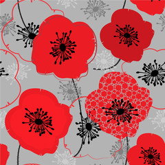 Canvas Prints Abstract Floral Poppy. Seamless pattern