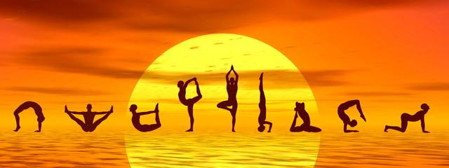 Yoga asanas by sunset - 3D render