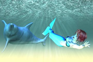 Fotobehang Zeemeermin Mermaid girl with dolphins