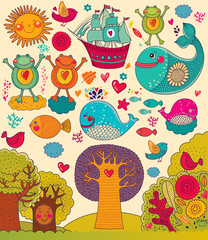 Fototapete - Vector illustration with animals