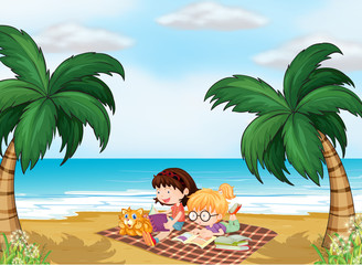Deurstickers Katten Girls reading near the beach