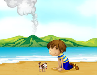 Poster de jardin Chiens A little boy and his pet at the beach