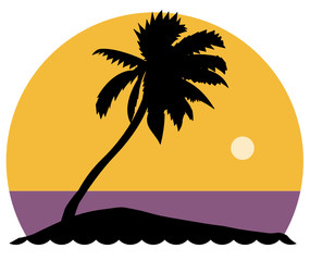 Palm tree, vector illustration